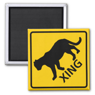 Panther Crossing Highway Sign 2 Inch Square Magnet