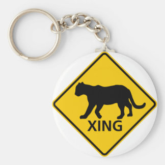 Panther Crossing Highway Sign Keychain