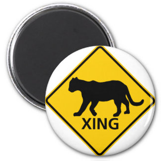Panther Crossing Highway Sign Refrigerator Magnets