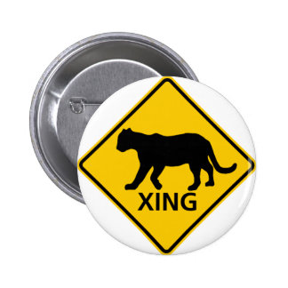Panther Crossing Highway Sign Pinback Button