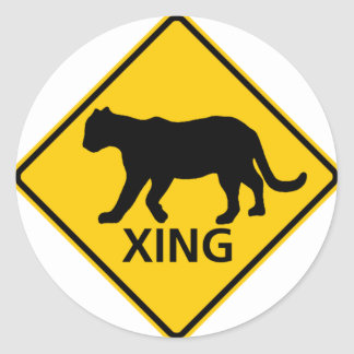 Panther Crossing Highway Sign Classic Round Sticker
