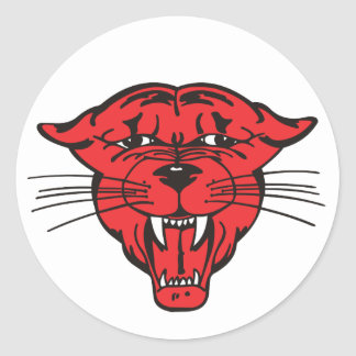 PANTHER FACE, red 01 Classic Round Sticker