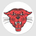 PANTHER FACE, red 01 Round Stickers