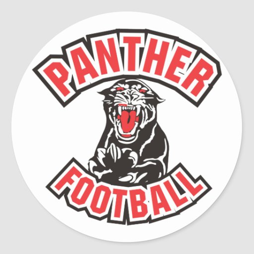 PANTHER FOOTBALL red Classic Round Sticker