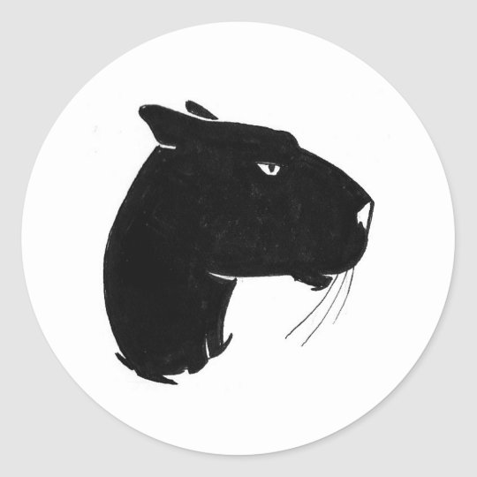 Panther head profile classic round sticker