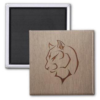 Panther illustration engraved on wood design 2 inch square magnet