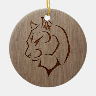 Panther illustration engraved on wood design ceramic ornament