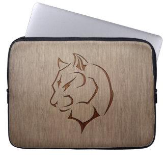 Panther illustration engraved on wood design laptop sleeve