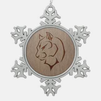 Panther illustration engraved on wood design snowflake pewter christmas ornament