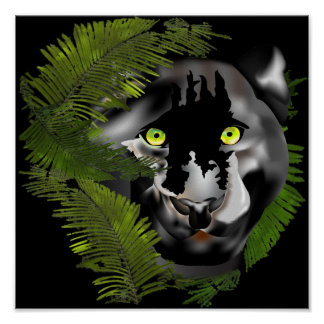 Panther in Foliage. Poster