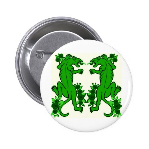 PANTHER PAIR TATTOO ART PRINT IN GREEN 2 INCH ROUND BUTTON