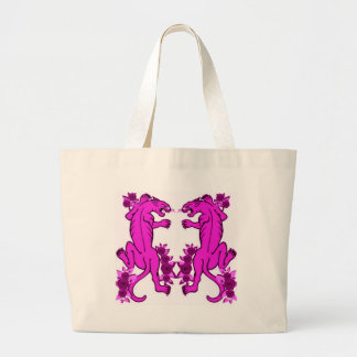 PANTHER PAIR TATTOO ART PRINT IN PINK CANVAS BAG