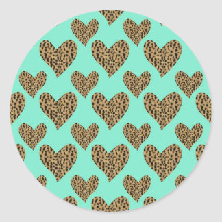 Panther Pattern Hearts Classic Round Sticker