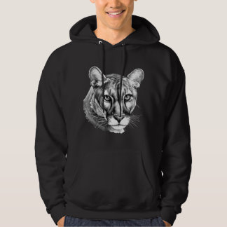 Panther Portrait Grayscale Hooded Sweatshirt