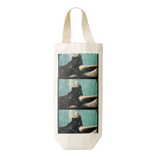 Panther with Piercing Eyes Zazzle HEART Wine Bag