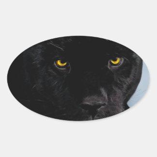 Panthera de la pantera negra pegatina ovalada