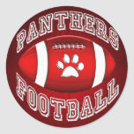 Panthers Football Red and White Classic Round Sticker
