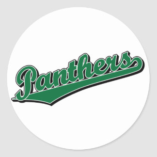 Panthers in Green Round Stickers