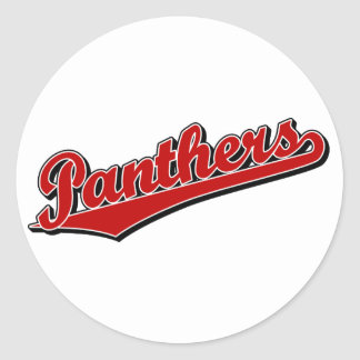 Panthers in Red Round Stickers