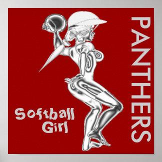 Panthers Softball Girl Poster