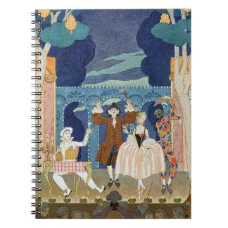 Pantomime la etapa, ejemplo para los 'Fetes Galant Spiral Notebook