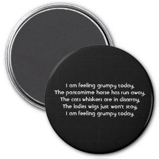 Pantomime. Poem. Black White 3 Inch Round Magnet