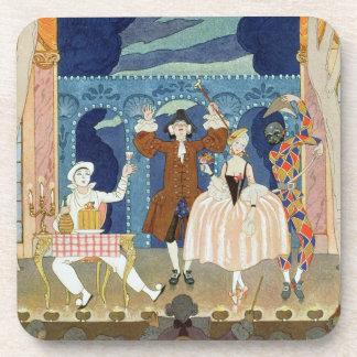 Pantomime Stage, illustration for 'Fetes Galantes' Beverage Coaster