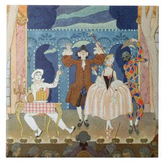 Pantomime Stage, illustration for 'Fetes Galantes' Large Square Tile