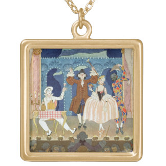 Pantomime Stage, illustration for 'Fetes Galantes' Square Pendant Necklace