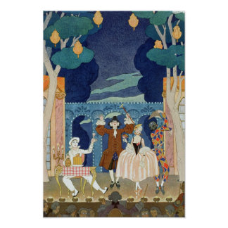 Pantomime Stage, illustration for 'Fetes Galantes' Poster