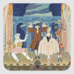 Pantomime Stage, illustration for 'Fetes Galantes' Square Sticker