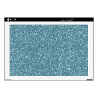 """PANTONE Aquamarine baby blue with faux Glitter 17"""" Laptop Decal"""