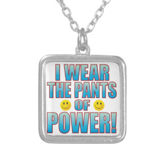 Pants Power Life B Silver Plated Necklace