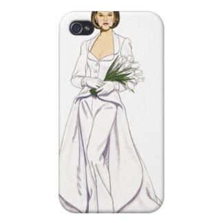 Pantsuit del boda del satén iPhone 4 protectores