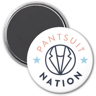 Pantsuit Nation Magnet, White 3 Inch Round Magnet