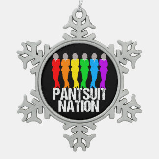 Pantsuit Nation Rainbow Women Snowflake Pewter Christmas Ornament