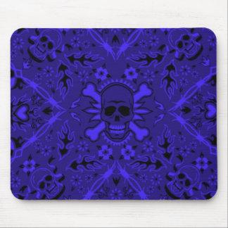 Pañuelo azul y negro Mousepad del cráneo