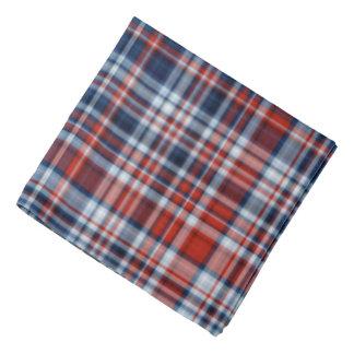 Pañuelo blanco y azul rojo de la tela escocesa bandanas