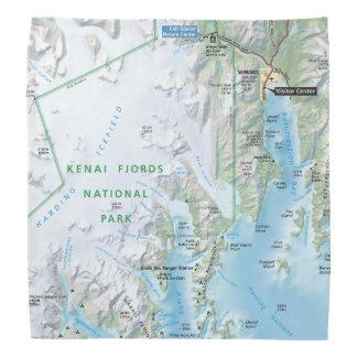 Pañuelo del mapa de los fiordos de Kenai Bandanas
