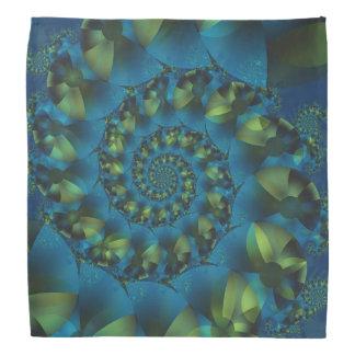Pañuelo espiral azul y verde del fractal bandanas