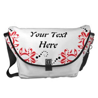 Pañuelo fantástico negro y diseño rojo bolsas de mensajeria