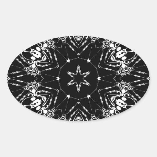 Pañuelo negro como diseño con los cráneos pegatina oval personalizadas