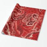 Pañuelo/pañuelo retros rojos de Paisley Papel De Regalo