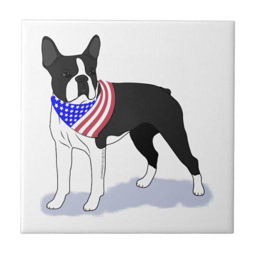Pañuelo patriótico Boston Terrier de la bandera Azulejo Cuadrado Pequeño