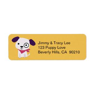 Pañuelo perrito, etiquetas de dirección, amarillas etiquetas de remite