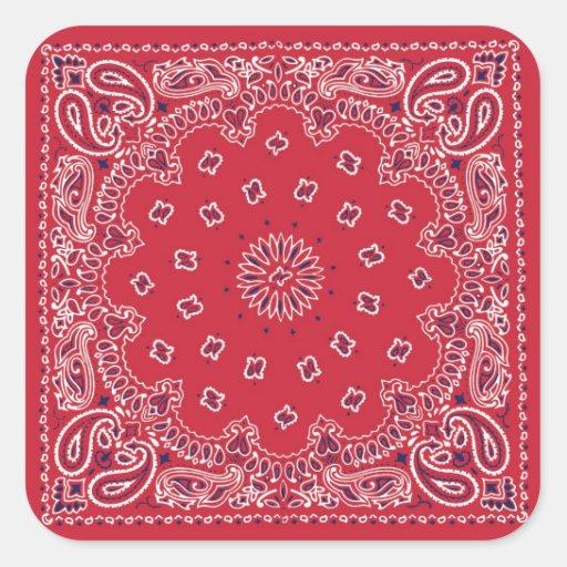 Pañuelo retro del rojo 60s pegatina cuadradas personalizadas