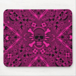 Pañuelo rosado y negro Mousepad del cráneo