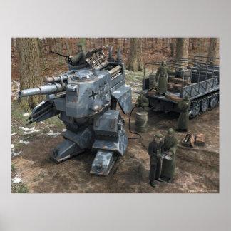 Panzer bípedo de reaprovisionamiento de combustibl póster