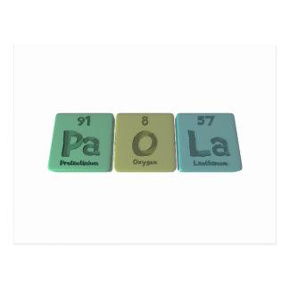 Paola as Protactinium Oxygen Lanthanum Postcard