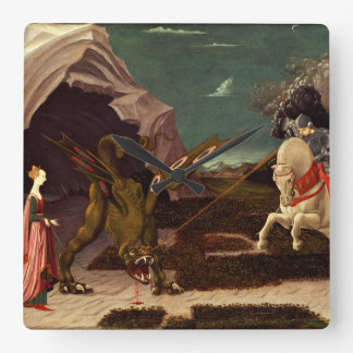 PAOLO UCCELLO - Saint George and the Dragon 1470 Square Wall Clock
